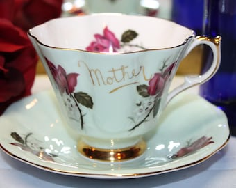 """Queen Anne Teacup and Saucer """"Mother"""""""