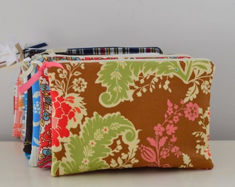 Zipper Pouch in Fall Garden - cosmetic bag travel case diaper bag organizer medium brown pink flowers ipad mini kindle toiletry gift set