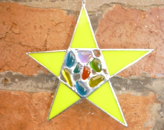 Stained glass Star suncatcher. Star ornament.