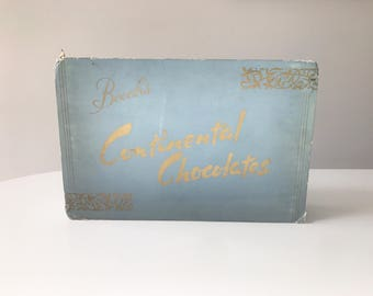 REDUCED Vintage 1950s Baby Blue and Gold Beech's Continetal Chocolates Card Box