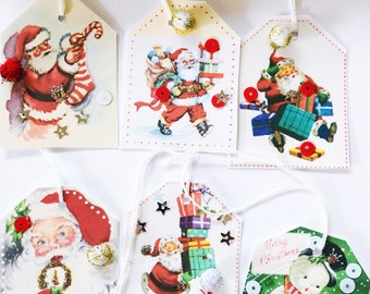 Retro Vintage Christmas Tags
