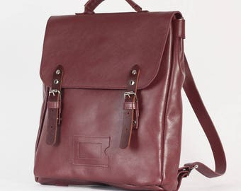 Burgundy Marsala Satchel leather and suede backpack rucksack / To order / Leather Backpack / Leather rucksack / Christmas Gift