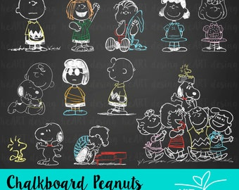 Chalkboard Peanuts Clipart / Digital Clip Art for Commercial and Personal Use / INSTANT DOWNLOAD