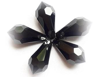 Swarovski Crystal Beads 6000 2pcs JET BLACK Teardrop Faceted Pendant - Sizes 11mm, 13mm & 15mm available