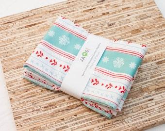 Large Cloth Napkins - Set of 4 - (N4563) - Peppermint Aqua Snowflake Stripe Modern Reusable Fabric Napkins