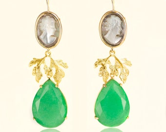 Classic Earrings with Jade and Cameo
