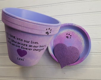 Dog Memorial Gift - Cat Memorial Gift - Painted Flower Pot - Pet Sympathy Gift - Pet Memorial