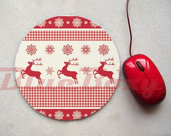 Red Reindeer Mousepad, Office Mousepad, Computer Mouse Pad, Fabric Mousepad