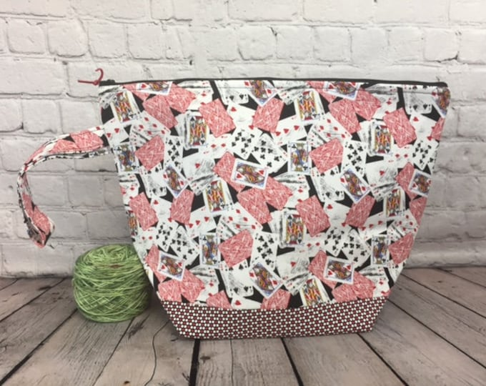 Playing Cards, Poker print w/ Full length pocket, Knitting project bag, Crochet project bag,  Zipper Project Bag, Yarn tote
