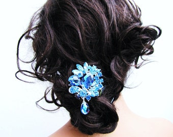 Blue sparkling rhinestone hair comb, chandelier rhinestone bridal fascinator, something blue, wedding head piece  - Baily
