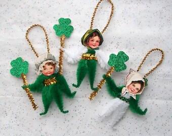 St. Patrick's Day Girls Chenille Ornaments Children, Lucky Shamrocks (91p)
