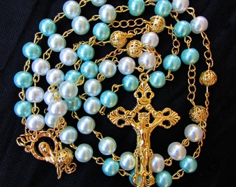 Blue Ombre Rosary 8mm
