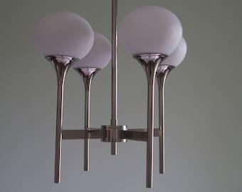 Vintage Chrome chandelier/chandelier/pendant light style Scoliari 1965