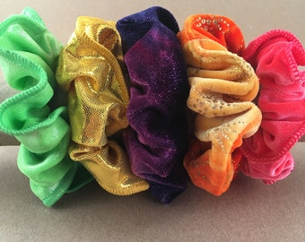 Vintage Scrunchies Metallic and Velvet Fabric 1980s Lot of 5