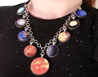 Planet Necklace - Statement Necklace, Pendant Necklace, Astronomy Solar System Necklace