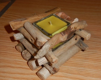 Handmade Square candle holder Driftwood + pine scented candle