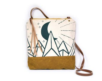 weekdayer • moon print crossbody bag - waxed canvas • sun and moon print - mountain print • cross body bag - celestial - witchy