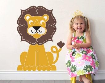 Lion Wall Decal Jungle Animal Safari Baby Nursery Theme Kids Room Decor King of the Jungle
