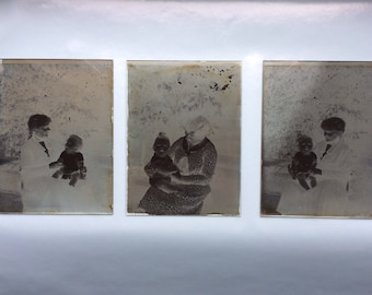 13 glass plate negative photos in vintage box