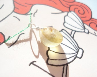 Seaham Sea Glass Yellow Multi Mermaids Tear Pendant - with mermaid gift card (Coral5) - from Seaham beach,  UK