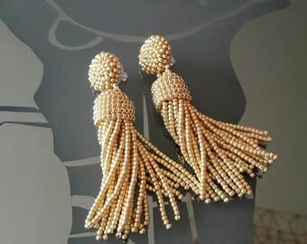 Gold beaded tassel Earrings, 3 inch, statement earrings, tassel earrings, beaded dangle earrings, Designer earrings, sterling silver