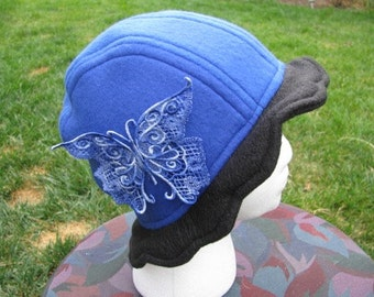 Scalloped Edge Fleece Bucket Hat with Beautiful Variegated Blue Lace Butterfly