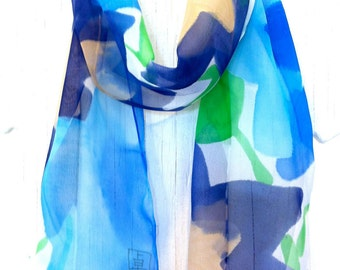 Hand Painted Silk Scarf, Blue Silk Scarf, Summer Ocean Blue Stella Scarf, Summer Scarf, Silk Chiffon, 8x50 inches. Made to order.