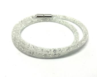 Crystal Wrap bracelet White with magnetic clasp 18 cm