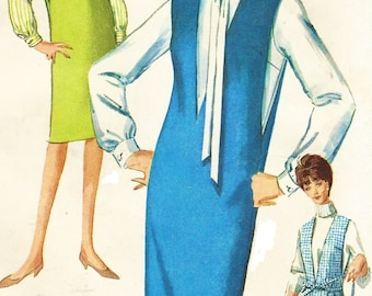 1960s Womens Deep V Neckline Jumper and Blouse Simplicity Sewing Pattern 5482 Size 14 Bust 34 Mod Jumper Vintage Sewing Patterns