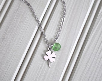 St Patrick's Day Four Leaf Clover Green Bead Silver Necklace