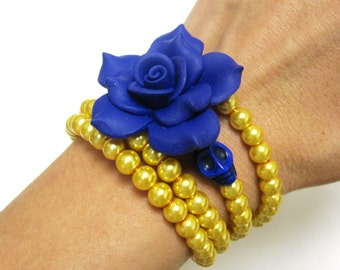 Day of the Dead Bracelet Sugar Skull Jewelry Navy Blue Gold
