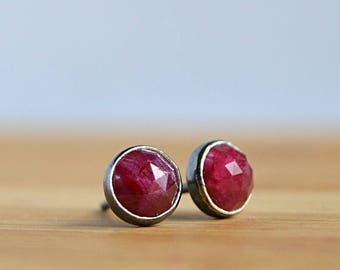 Genuine Ruby Earrings, Natural Ruby Stud Earrings, July Birthstone, 40th Anniversary Gift: Oxidized Sterling Silver 14k Rose Gold Filled