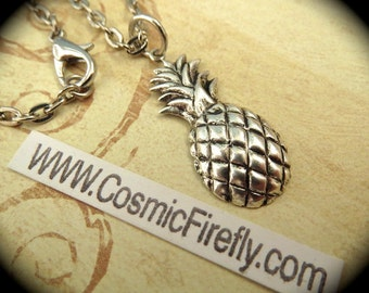 Silver Plated Pineapple Necklace Vintage Style Silver Plated Metal Steampunk Necklace Tiki Necklace Pineapple Charm Includes Silver Chain