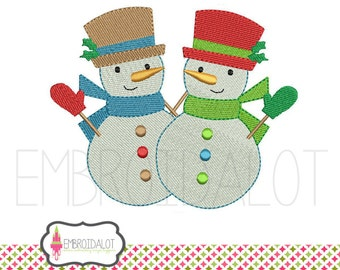 Snowman embroidery design. Modern and festive snowmen machine embroidery designs, two sizes. Fun Christmas embroidery for winter.