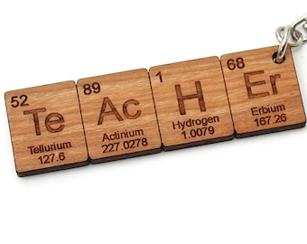 TEACHER Periodic Table Keychain! Great Science Teacher Gift! - Geekery Key Chain - Nerdy Cool - Chemistry Elements - Backpack Clip - USA