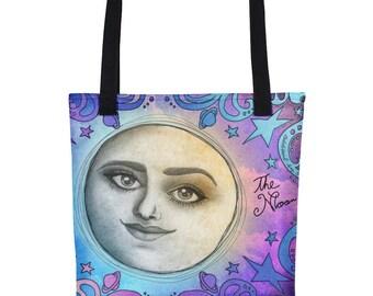 Full Moon Tote Bag / Moon Phase Galaxy Artwork / Celestial Purse / Lunar Goddess Satchel / Gypsy Boho Chic Sack