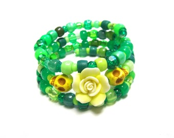 Green Day of the Dead Bracelet Sugar Skull Jewelry Wrap