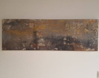 Dark Gold Abstract Acrylic Painting