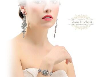 Bridal jewelry set, Wedding necklace, wedding jewelry set, bridal necklace, Bridal backdrop necklace, bridal bracelet, bridesmaid jewelry