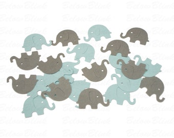 50 Light Blue and Gray Elephant Confetti, Baby Boy Shower, Elephant Confetti Mix - No728