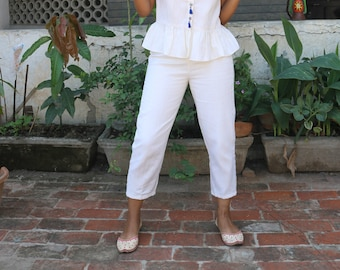 Cream linen three quarter pant/ made to order