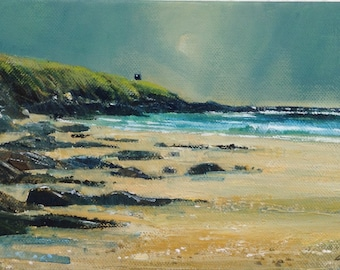 Over the rocks at Pednvadan. An acrylic painting 30.5 x 15.5 cm