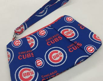 Chicago Cubs Double Pleated Wristlet_Glitter Print