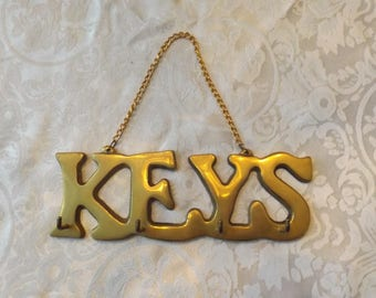 Brass key holder.  Wall hanging. Small gift. . Organizer