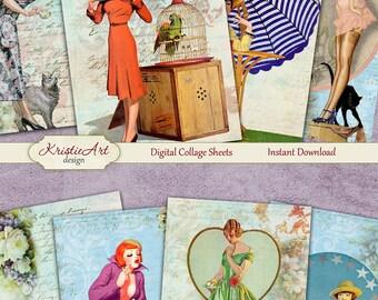 75% OFF SALE Retro Dreams - Digital Collage Sheet C096 Digital Cards Printable Download Image Tags Digital Atc Card ACEO Retro Cards