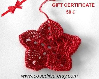 Valentine gift, Last minute gift, Christmas Gift card, Gift Certificate, voucher 50 Euro, custom made gift, knitting gift, crochet gift