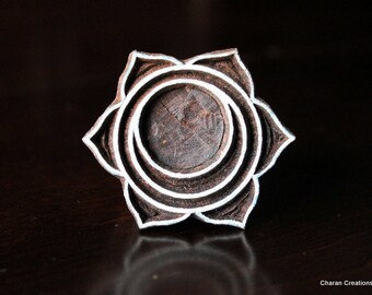 Hand Carved Indian Wood Textile Stamp Block-Sacral Chakra