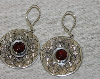 Big Silver Earring, Garnet  Earrings, Silver Earrings, Handmade Earrings, Sterling Silver Earrings, Red Stone Earring, Ready to Ship,