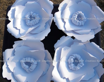 Large White Paper Flowers - 4 pcs - Poppy Flowers Backdrop, Wedding Flower Backdrop, Nursery Wall Decor, Party Decor - Made to Order