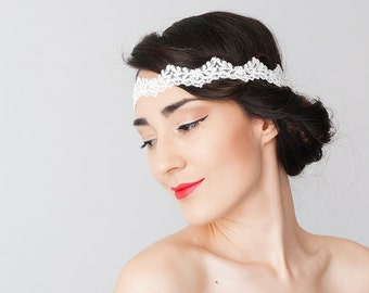 Bridal Headband Bridal Headpiece Lace Headband Retro Headband Wedding Accessories Lace Headpiece/ LERI